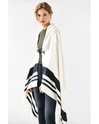 Urban Outfitters - Black Blanket Stripe Toggle Poncho - Lyst