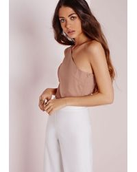 Missguided | Pink One Shoulder Bralet Nude | Lyst