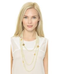 Tory Burch - White Evie Multi-Strand Necklace - Ivory/Shiny Gold - Lyst