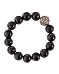 Bavna | Diamond Black Onyx Beaded Bracelet | Lyst