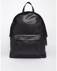 ASOS - Leather Backpack In Black for Men - Lyst