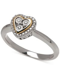 Macy's | Metallic Diamond Heart Ring In 14k Gold Over Sterling Silver (1/10 Ct. T.w.) | Lyst
