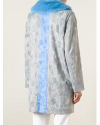 Shrimps - Blue Stripe Detail Faux Fur Coat - Lyst