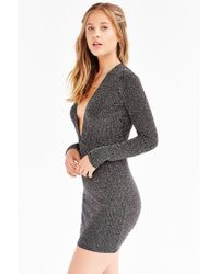 Motel - Metallic Lynette Shimmer Plunge Dress - Lyst