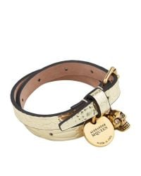 Alexander McQueen - Metallic Skull Charm Double Wrap Bracelet - Lyst