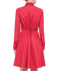 Akris Punto - Red Long-sleeve Drawstring-waist Shirtdress - Lyst