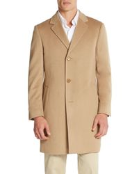 Saks Fifth Avenue | Brown Slim-fit Wool Coat for Men | Lyst