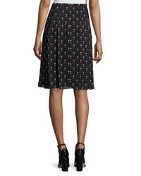 Christopher Kane - Black Pleated Heart-print Silk Skirt - Lyst