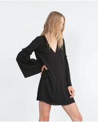 Zara | Black Bell Sleeve Dress | Lyst