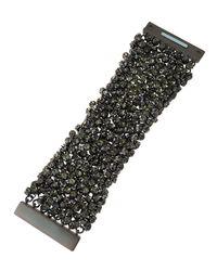 Fragments - Metallic Gunmetal Rhinestone Bracelet Wtih Box - Lyst