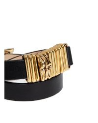 Alexander McQueen - Black Double Wrap Skull Ring Leather Bracelet - Lyst