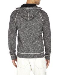 True Religion - Gray Melange Knit Horseshoe Logo Hoodie for Men - Lyst