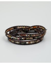 Chan Luu - Dark Brown Leather Mix Stone Beaded Wrap Bracelet - Lyst
