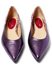 French Sole - Purple Metallic Leather Penelope Flats - Lyst