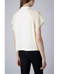 TOPSHOP - White Sheer Sleeve Crop Shirt - Lyst