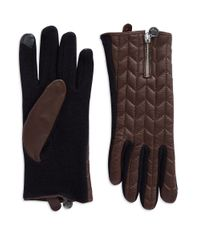 Lauren by Ralph Lauren | Brown Quilted Leather Touch Gloves | Lyst