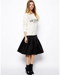ASOS | Black Midi Scuba Skirt With Pleats | Lyst