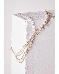 Missguided | Metallic Statement Pearl Detail Headpiece Gold | Lyst