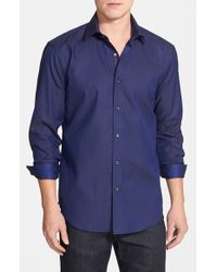 Bugatchi | Blue Shaped Fit Stripe Sport Shirt for Men | Lyst