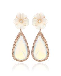Nina Runsdorf | 18k Pink Gold and White Opal Flower Earrings | Lyst