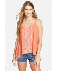 Rip Curl | Pink 'revelation' Embroidered Split Back Tank | Lyst