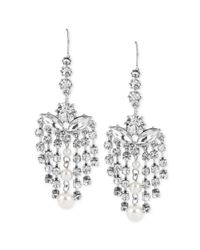 Betsey Johnson | Metallic Silvertone Crystal Chandelier Earrings | Lyst
