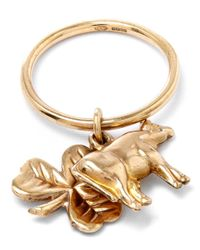 Annina Vogel - Metallic Gold Cow Shamrock Charm Ring - Lyst