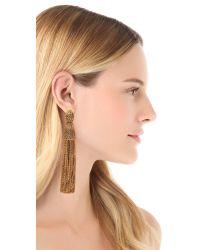 Oscar de la Renta | Brown Metal Chain Tassel Clip Earrings | Lyst