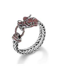 John Hardy - Metallic Dragon Head Bracelet On Large Rectangular Chain - Lyst