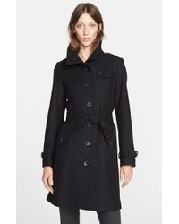 Burberry Brit | Black 'Rushfield' Wool Blend Single Breasted Coat | Lyst