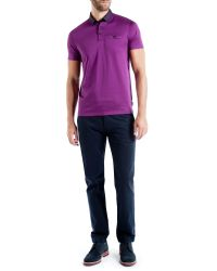 Ted Baker | Pink Joejoe Grosgrain Spot Collar Polo Shirt for Men | Lyst