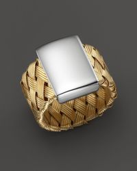 Roberto Coin | Metallic 18K Yellow Gold Plated Sterling Silver Woven Ring | Lyst