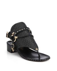 Ivy Kirzhner - Black Collossus Leather Toe-ring Sandals - Lyst