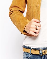 Kat&bee | Metallic Kat & Bee Simple 14ct Filled Wire Ring With Brown Marble Bead | Lyst