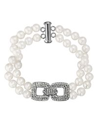Lord & Taylor | White Sterling Silver Fresh Water Pearl And Crystal Bracelet | Lyst