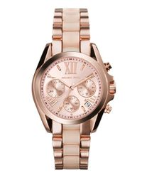 MICHAEL Michael Kors - Metallic Michael Kors 'bradshaw - Mini' Chronograph Resin Link Bracelet Watch - Lyst