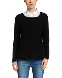 HUGO - Black Sweater In A Cotton Blend With Silk: 'saher' - Lyst