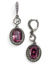 Givenchy | Pink Double Drop Earrings - Hematite/ Amethyst Mix | Lyst