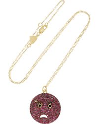 Alison Lou | Metallic Angry 14-Karat Gold, Ruby, Diamond And Enamel Necklace | Lyst