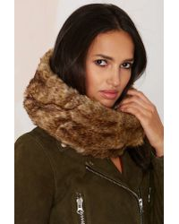 Nasty Gal - Brown Jaime Faux Fur Cable Knit Infinity Scarf - Black - Lyst