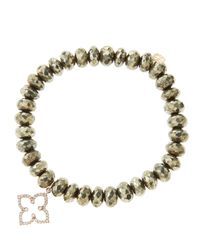 Sydney Evan - Gray 8Mm Faceted Champagne Pyrite Beaded Bracelet With 14K Rose Gold/Diamond Moroccan Flower Charm (Made To Order) - Lyst