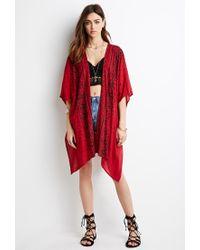 Forever 21 | Red High-slit Tile Print Kimono | Lyst