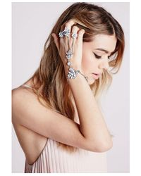 Missguided | Metallic Statement Triple Ring Hand Chain Silver | Lyst
