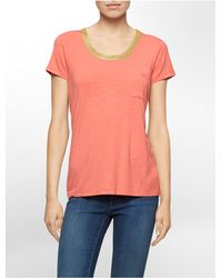 Calvin Klein | Pink White Label Metallic Trim Scoopneck T-shirt | Lyst