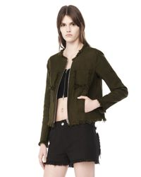Alexander Wang | Green Burlap Zip-Up Jacket | Lyst