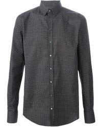 Dolce & Gabbana - Gray Geometric Printed Shirt for Men - Lyst
