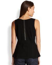 Eileen Fisher - Black Silk/Cotton Peplum Top - Lyst