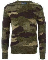 Polo Ralph Lauren - Green Camouflage Crew Neck Sweater for Men - Lyst