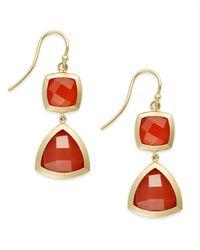 Macy's | 14k Gold Earrings, Faceted Red Agate Geometric Drop Earrings (8-1/3 Ct. T.w.) | Lyst