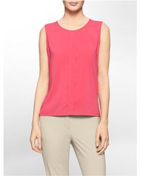 Calvin Klein | Pink White Label Center Pleat Eyelet Slit Sleeveless Top | Lyst